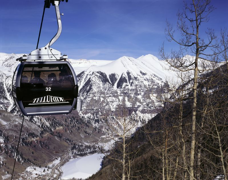A gondola overlooks the mountains in Telluride, Colorado