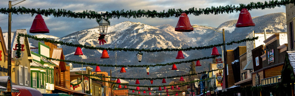 Whitefish Mountain Resort is visible from the town of Whitefish, decorated for the holidays. Photo: Whitefish Mountain Resort/Donnie Clapp