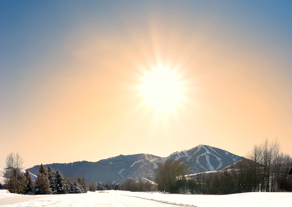 Sun Valley enjoys 250 days of sunshine in the winter.  Photo courtesy of Visit Sun Valley.
