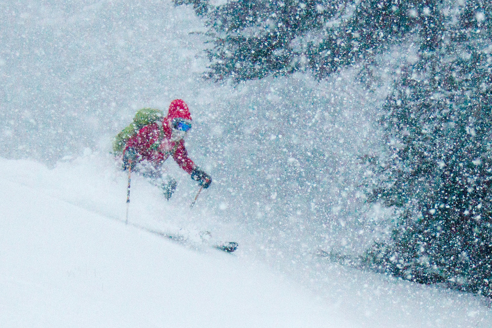 In Mad River Glen got pounded by a few days of heavy snow. The skiing was so good many stayed out until it was dark.  - ©Ember Photography