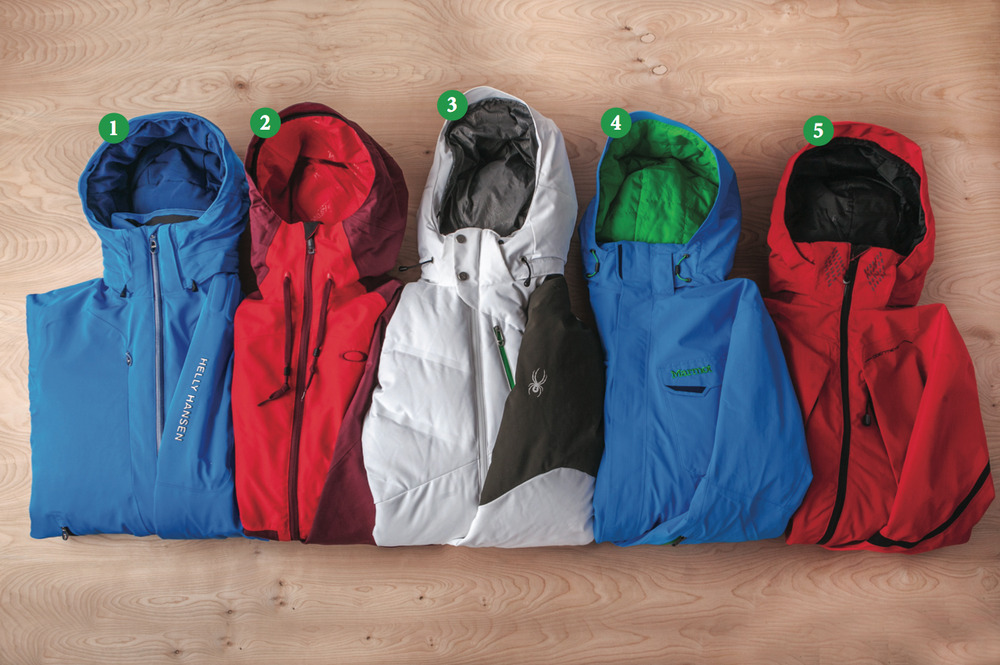 Men's Insulated Jackets: 1) Helly Hansen Enigma Jacket; 2) Oakley Originate Jacket; 3) Spyder Rocket Jacket; 4) Marmot LZ Jacket; 5) Obermeyer Ketchikan Cocona Jacket - © Julia Vandenoever