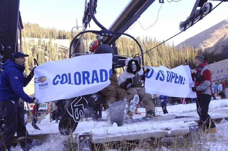The first lift of visitors up Arapahoe Basin on opening day.