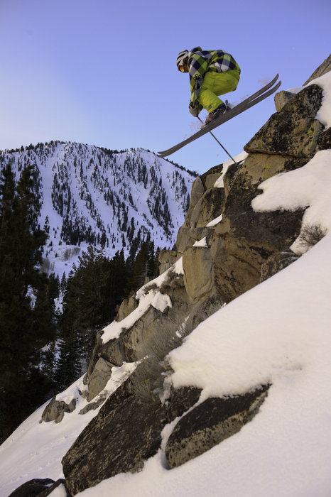 Jared Dalen riding moment skis in the chutes at Mt. Rose Ski Tahoe
