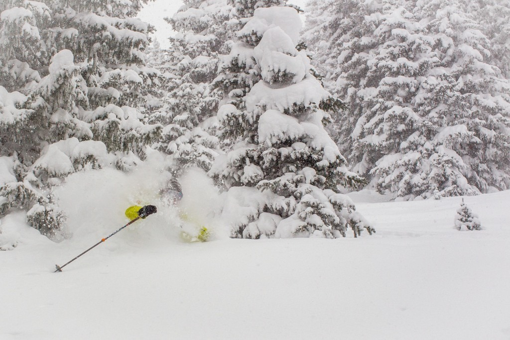 Light snow and no wind set up perfect conditions for skier Andy Wenberg at Vail. - ©Jeff Cricco
