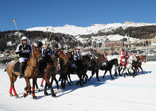 Ralph Lauren and Cartier are two major sponsors of the Cartier Polo Tournament, St. Moritz.
