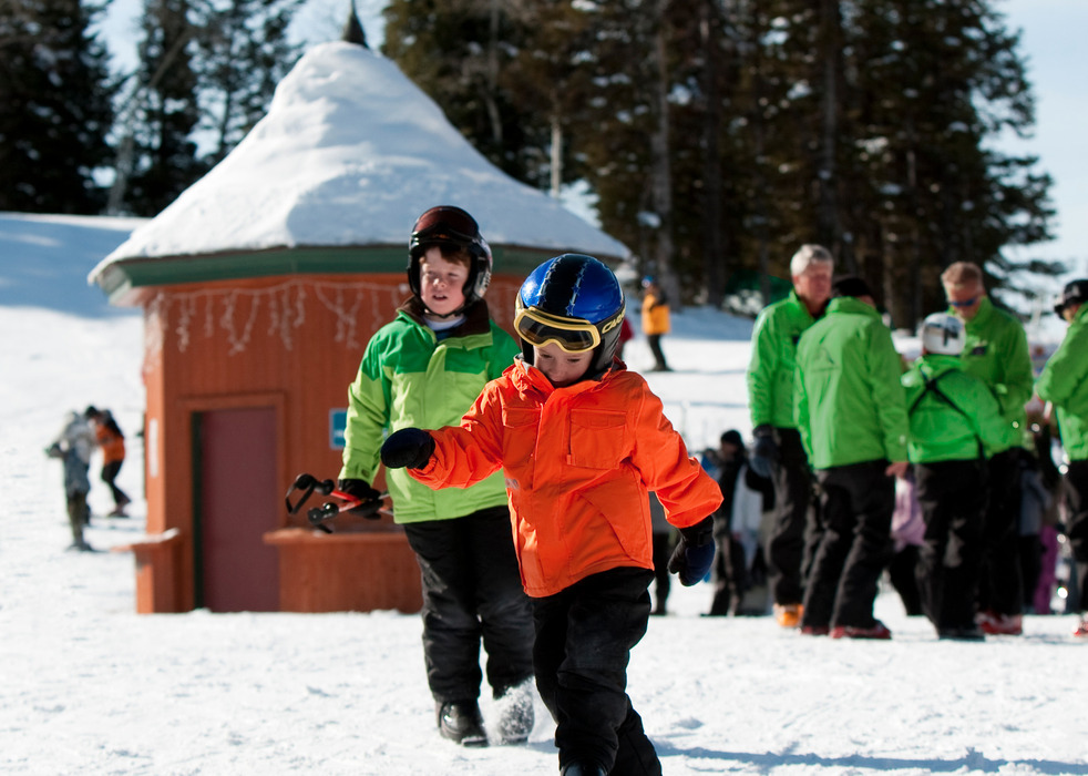 Kids getting ready for lessons at Targhee. Courtesy of Grand Targhee Resort.