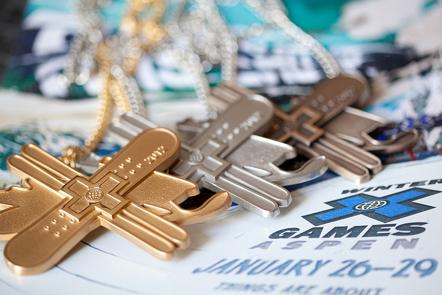Gold, silver, and bronze X-Games medals. - ©Sasha Coben