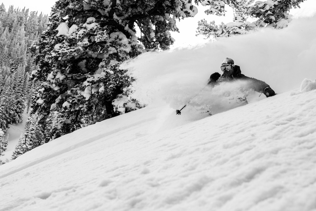 Carlo Travarelli reaps powderd deep in the trees. - © Liam Doran