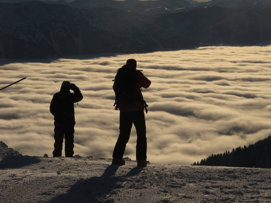 Ski patrollers above the clouds in Fernie - © Steve Ruskay