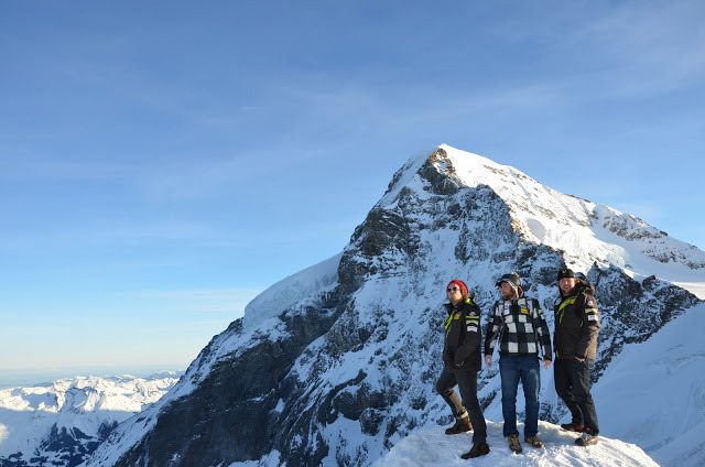The Eiger provides quite the backdrop for Travis and his U.S. Ski Team cohorts. - © Travis Ganong