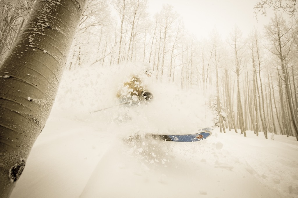 Caroline Lalive exploding powder pillows near Two O' Clock trees. - © Liam Doran