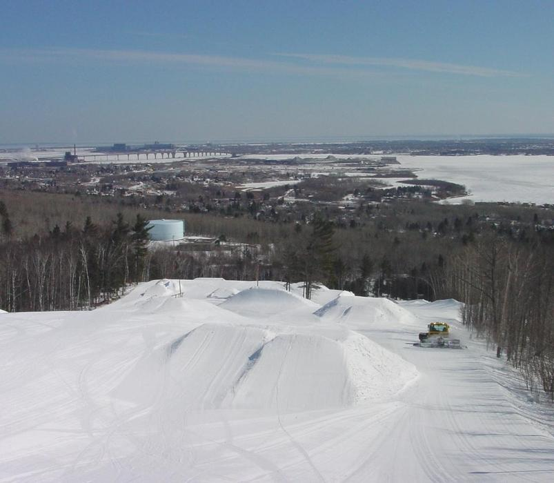 A scenic view of the terrain park and area in Spirit Mountain, Minnesota