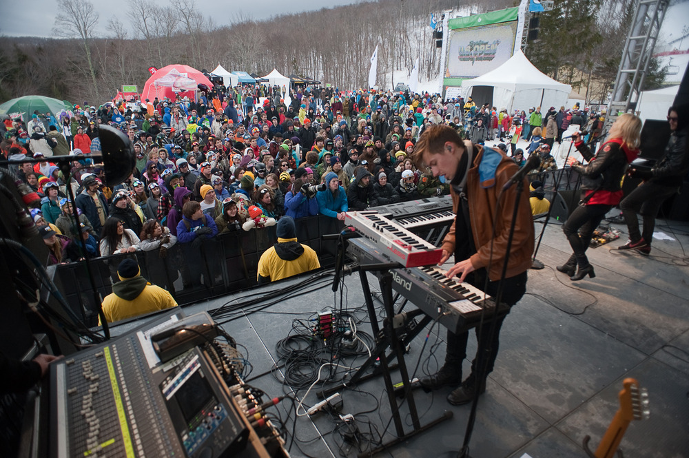 Live music will keep the crowd and athletes vibing throughout the weekend. Photo: Hubert Schriebl / Courtesy Stratton Mountain.
