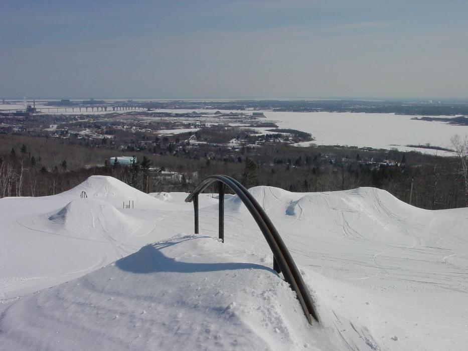A look down at the terrain park and a rail at Spirit Mountain, Minnesota