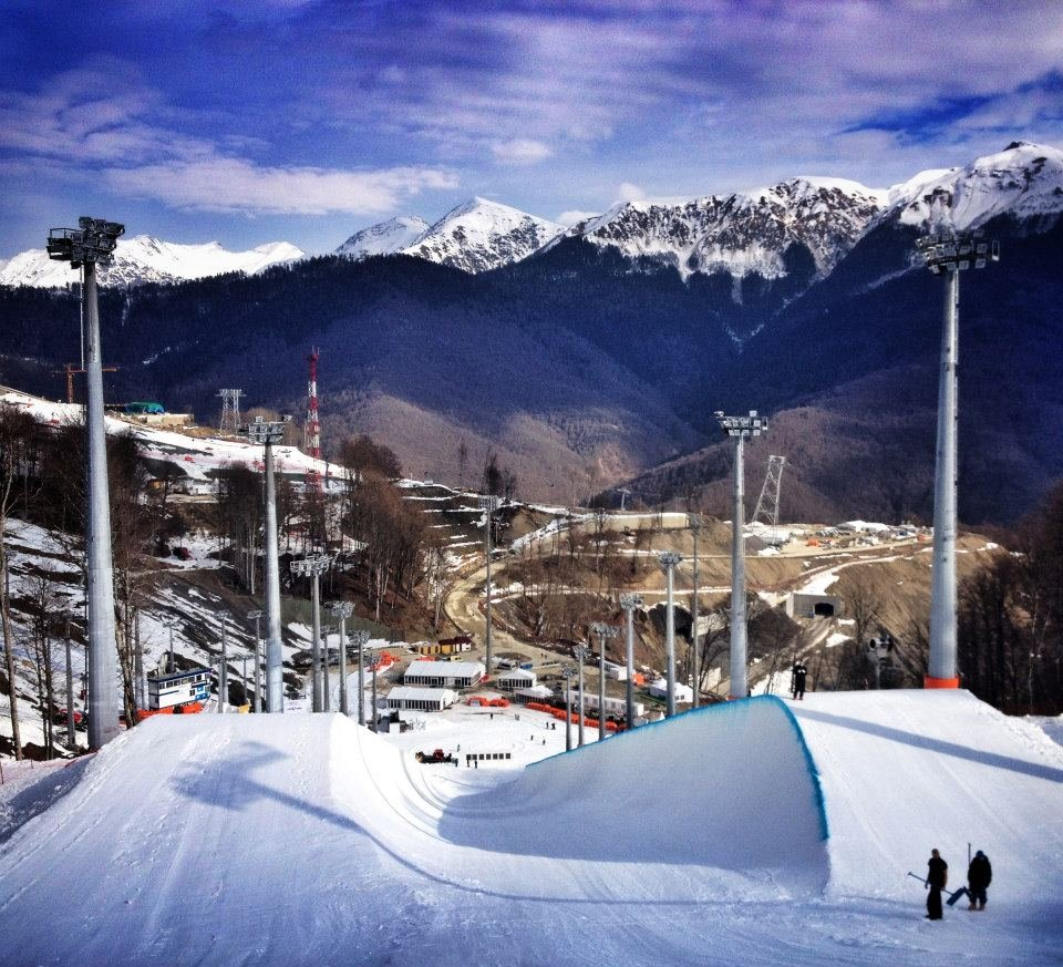 A view of the halfpipe in Sochi at the Rosa Khutor resort