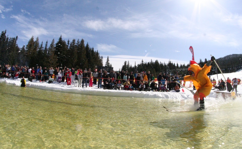 Pond skimming at Mt. Hood Skibowl. Photo courtesy of Mt. Hood Skibowl.