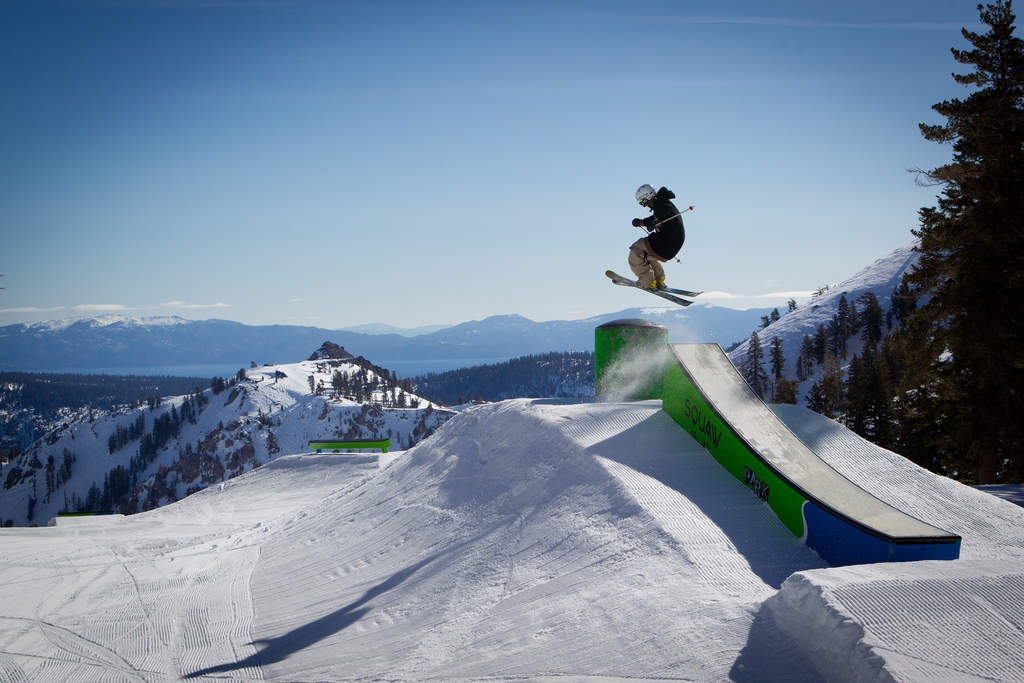 """Raleigh White making his way over a """"bonk"""" feature in one of Squaw's four terrain parks.  - © Jeff Engerbretson & Squaw Valley"""