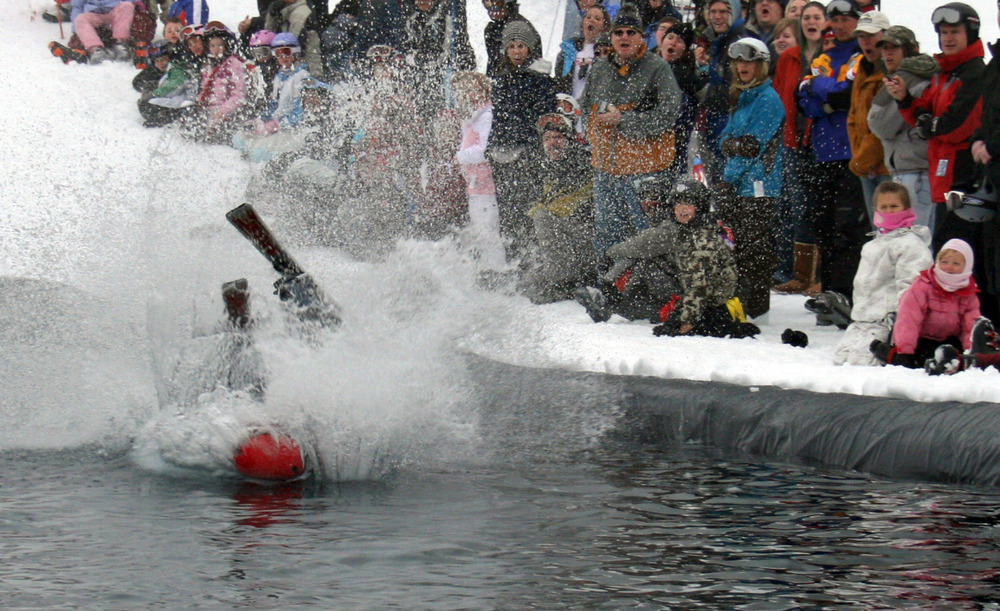 Pond skimming brings on the splats at Brundage Mountain. Photo courtesy of Brundage Mountain Resort.