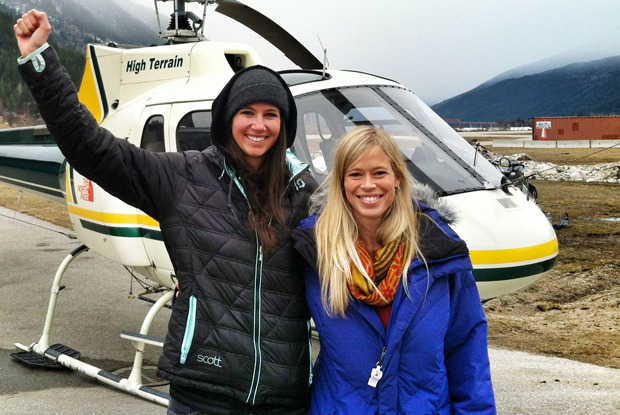 Meg and fellow U.S. Ski Team Athlete Kristi Leskinen prepare to board the helicopter that will whisk them away to Baldface Lodge. - © Matt Jay
