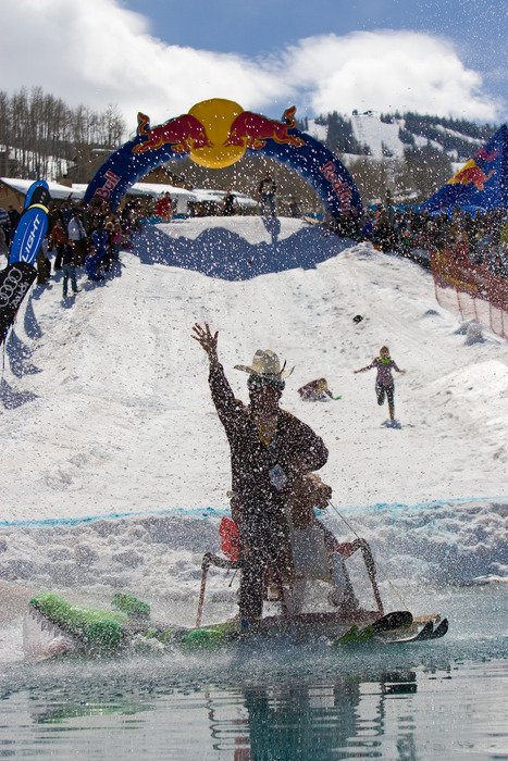 1st place winner of the Aspen, Colorado Red Bull Pondskim. - ©Aspen/Snowmass