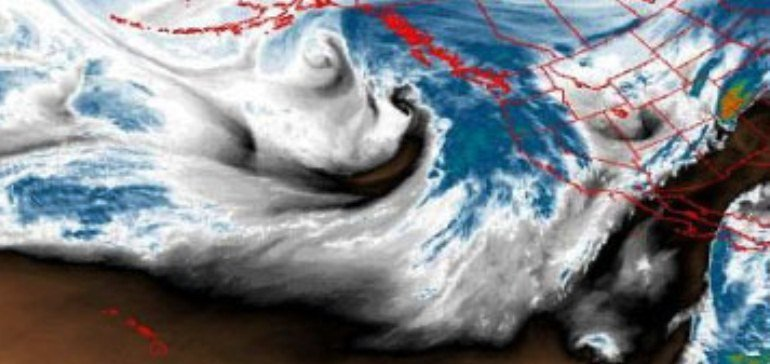 A storm moves toward the west coast from the Pacific Ocean. - © OpenSnow.com
