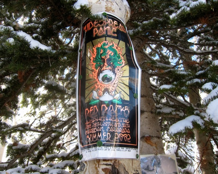 Widespread Panic's tour sign from a show at Red Rocks. - © Amanda Rae