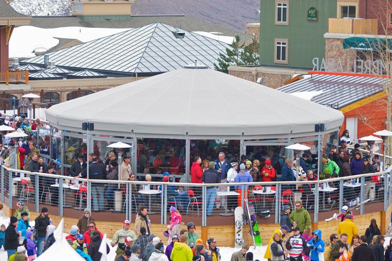 Umbrella Bar apres ski at Canyons Resort. - © Rob Bossi