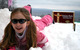 A young girl plays in the snow at Indianhead Mountain, Michigan