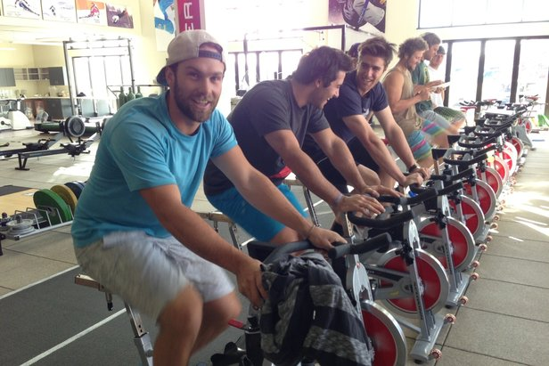 We spend lots of time on the bike during the summer training season!  Here we are in the U.S. Ski Team gym in Park City, Utah.   - © Travis Ganong