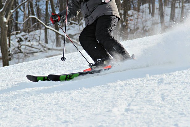 A skier gets a nice edge at Mountain Creek.