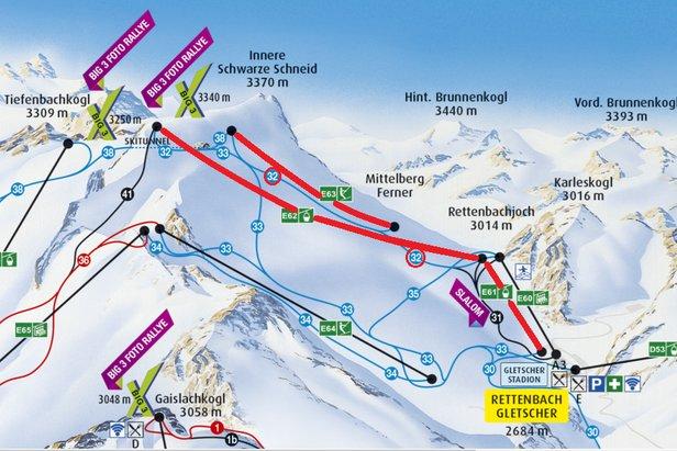 Od piątku na lodowcu Rettenbach czynna będzie gondola Schwarze Schneidbahn, orczyk Karleskogl i niebieska trasa 32