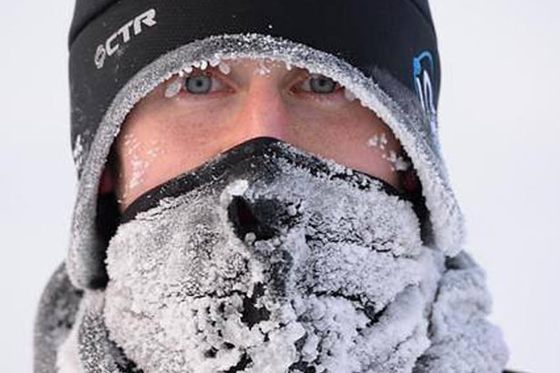 British solider, Luke Wigman, in a CTR Howler Peruvian hat while running the North Pole Marathon. He came in second place.