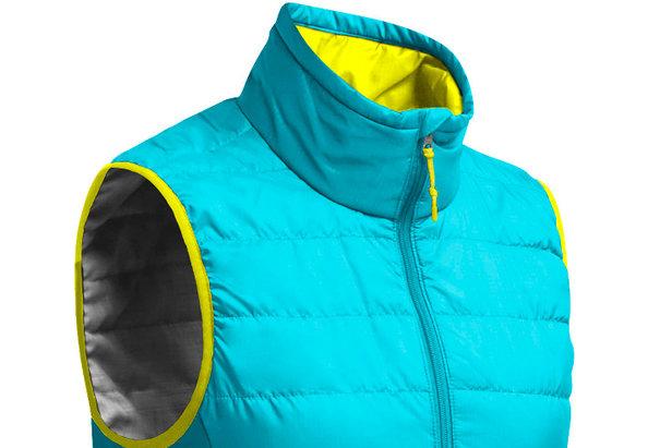 Doudoune sans manche en laine Merinos  (modèle Icebreaker HELIX pour femme - Couleur glacier/chartreuse - Prix : 159,95€)
