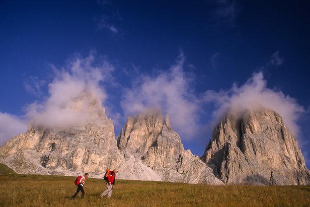 Der Dolomitentrek - hier nahe des Sellajochs am Langkofel Massiv