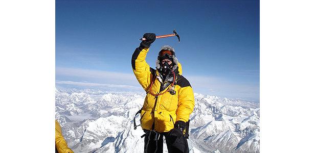 Auf dem Gipfel des höchsten Berges der Welt