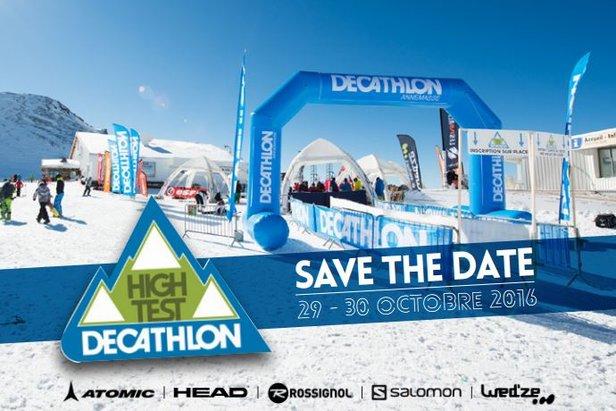 Rendez-vous les 29 et 30 octobre prochains aux 2 Alpes pour tester les skis et snowboard Atomic, Head, Rossignol, Salomon et Wed'ze à l'occasion du High test Decathlon