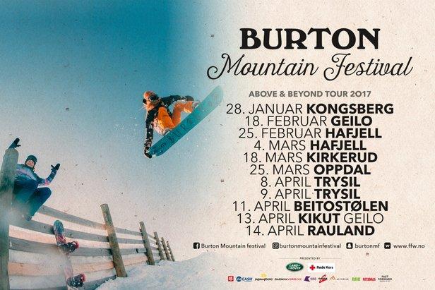 Her kan du se turnedatoene for Burton Mountain Festival i Norge 2017.