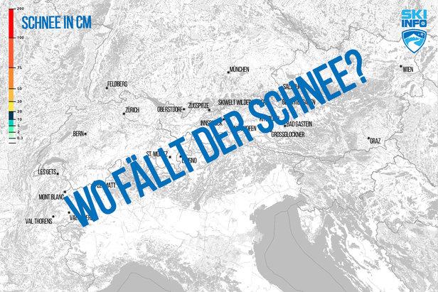 Karte: Schneevorhersage für den Alpenraum ©Skiinfo