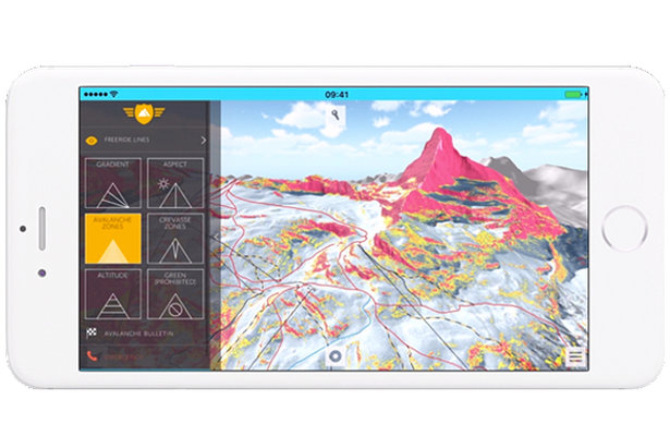 The terrain intelligence toolkit is a handy feature that improves mountain safety and awareness, including mountain gradient, aspect and avalanche risk zones.  - © FATMAP