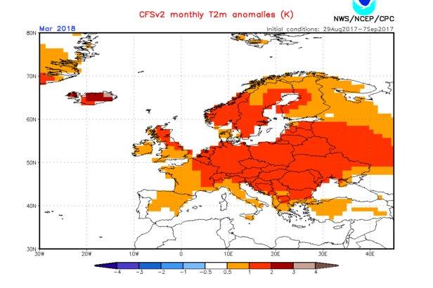Model CFS: Prognoza odchylenia temperatur od średniej wieloletniej , marzec 2018