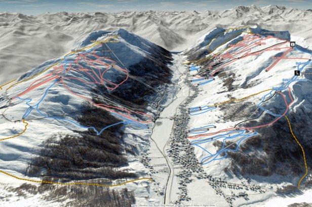 Nowa interaktywana mapa ośrodka narciarskiego Livigno 3D  - © OnTheSnow/FatMap
