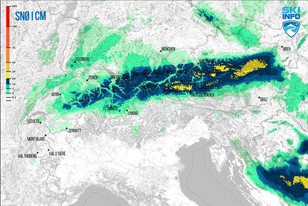 Snøvarsel for Alpene fra 19.04.2017 (06:30) og de neste 96 timene.  - © [c] ZAMG | Skiinfo