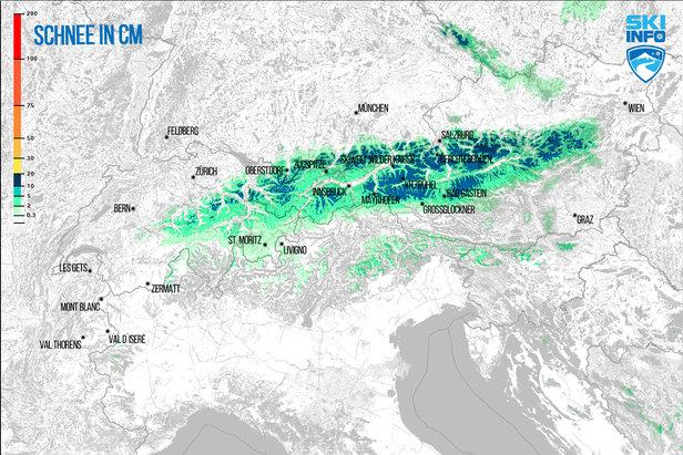 Schneevorhersage für Alpenraum vom 21.04.2017 (6:30 Uhr) für die nächsten 72 Stunden  - © [c] ZAMG / Skiinfo