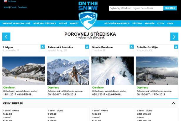 Nová pomůcka pro lyžaře od OnTheSnow: Porovnávání lyžařských středisek- ©OnTheSnow