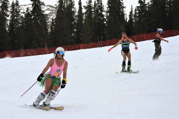 A few beach-goers enjoying Arapahoe Basin's Annual Swimwear Day & Rail Jam.