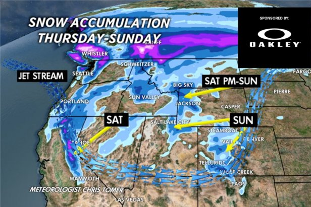 Weekly snow forecast by OnTheSnow meteorologist Chris Tomer.