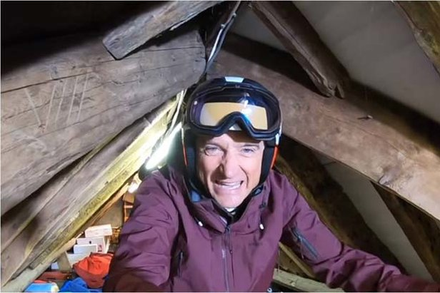 Graham Bell sports journalist skiing at home during lock-down