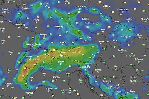 Výhledová mapa windy.com - množství nového sněhu v 10 nejbližších dnech