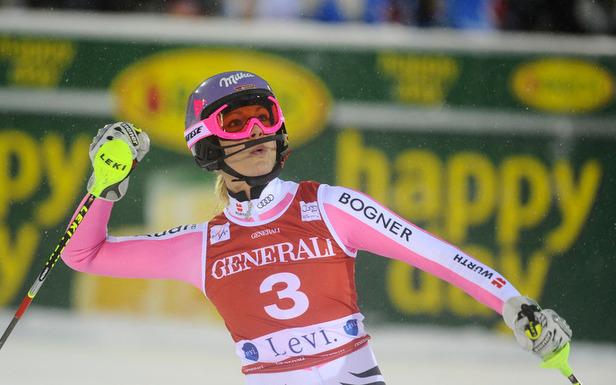 Oh happy day: Maria Höfl-Riesch darf bereits im zweiten Rennen den ersten Saisonsieg bejubeln