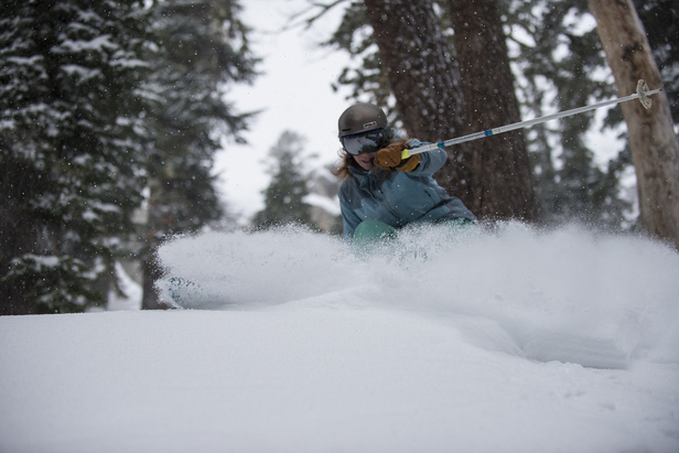 The new snow makes for great powder skiing in December at Squaw Valley